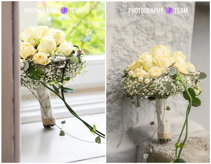 Brautpaar-Shooting, Gut Knoop, Photography Team, Hochzeitsfotograf Kiel, Brautstrauß